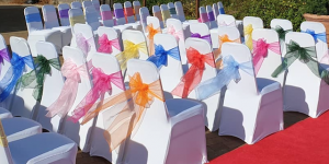 Colourful chair sashes and chair covers