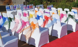 Primary and secondary coloured organza sashes Colourful chair sashes and chair covers