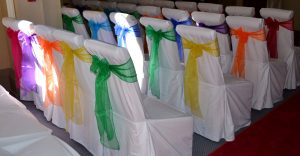 bold colour chair sashes Colourful chair sashes and chair covers