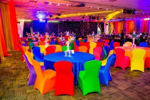 bright coloured chair covers Colourful chair sashes and chair covers