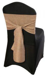 hessian double sash tie on black chaircover Hessian ties