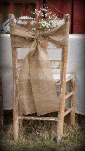 hessian on rustic wooden chair Hessian ties