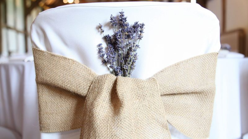 hessian on white chaircover with lavender
