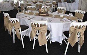 hessian sahes on table set up Hessian ties