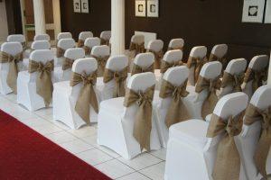 hessian sashes for wedding set up Hessian ties