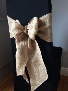 hessian simple tie on black chaircover Hessian ties