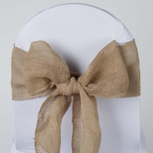 hessian simple tie on white chaircover Hessian ties