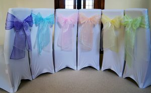 pastel chair cover sashes Colourful chair sashes and chair covers