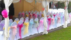 pretty pastel chair cover sashes Colourful chair sashes and chair covers